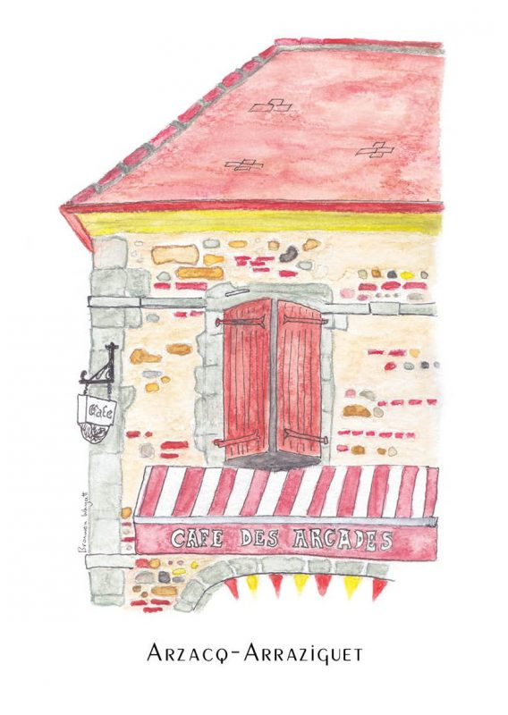 Bright red and yellow cafe with awning saying Cafe des Arcades