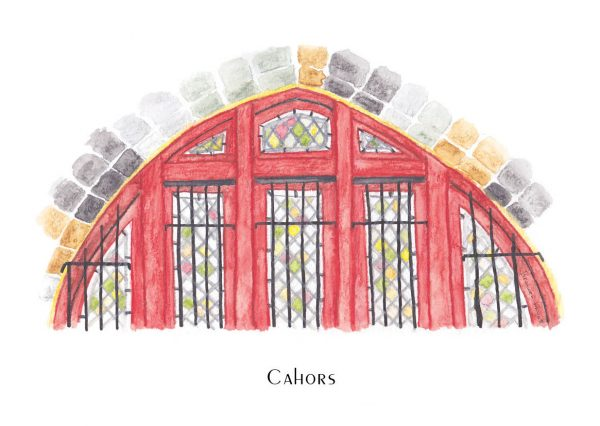 Arched stained-glass window with maroon frame