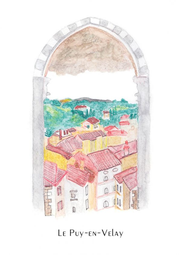 Watercolour sketch of red-roofed multi-storey buildings and distant hills seen through a cathedral arch