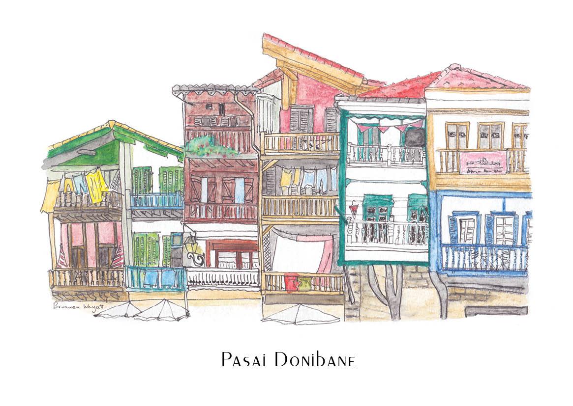 Medieval Basque townhouse watercolour