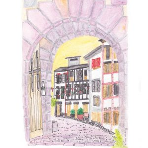 Watercolour sketch of pink stone gate with townhouses in the background