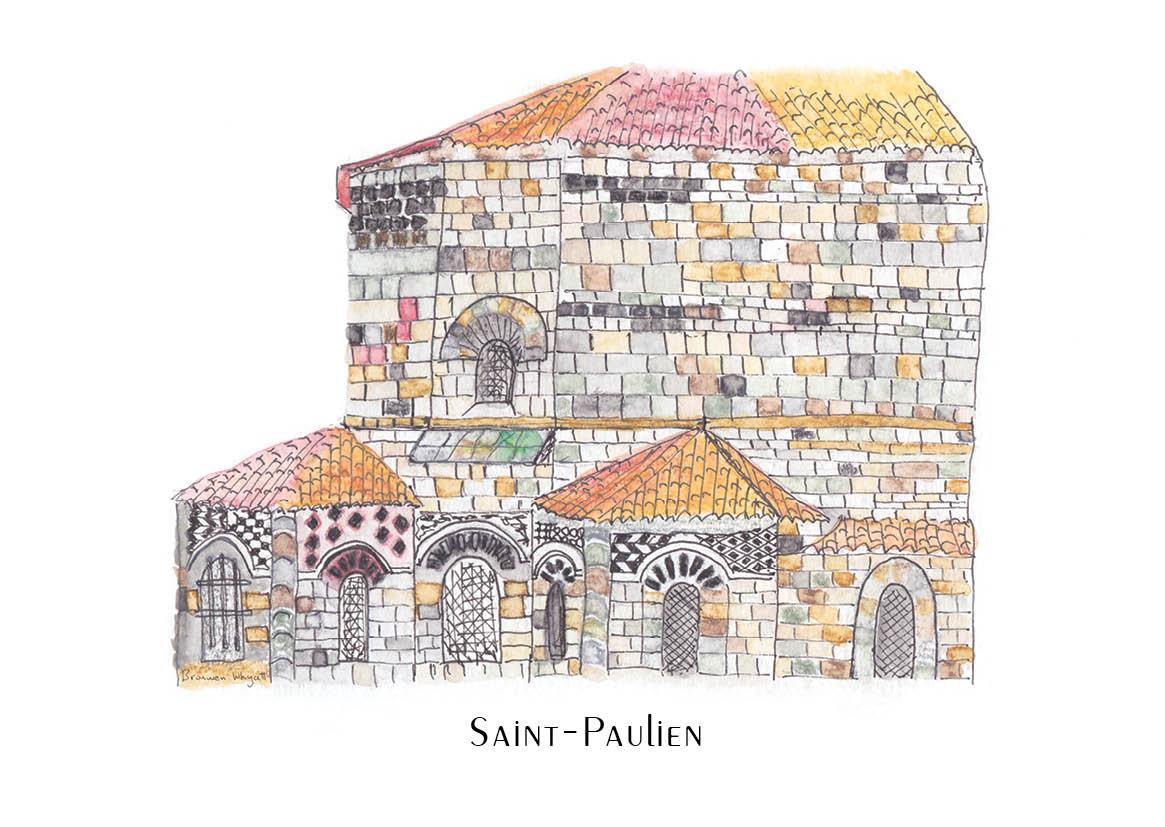 Bright French church sketch