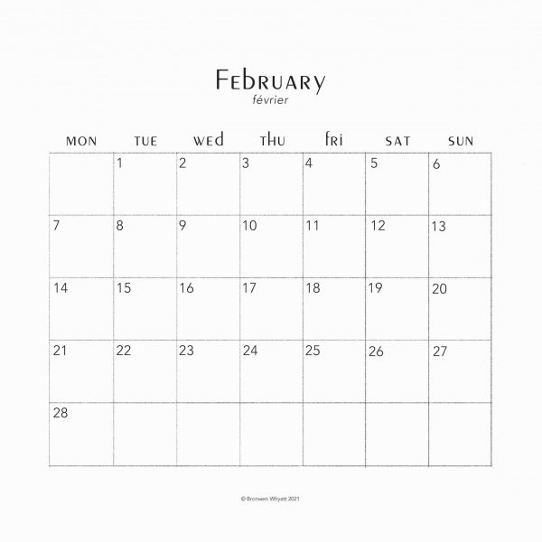 February page of 2022 calendar
