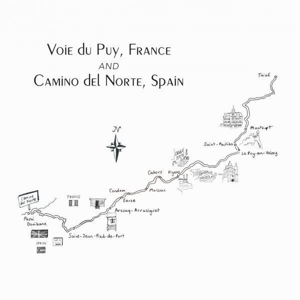 Hand-drawn map of the Voie du Puy, France and Camino del Norte, Spain