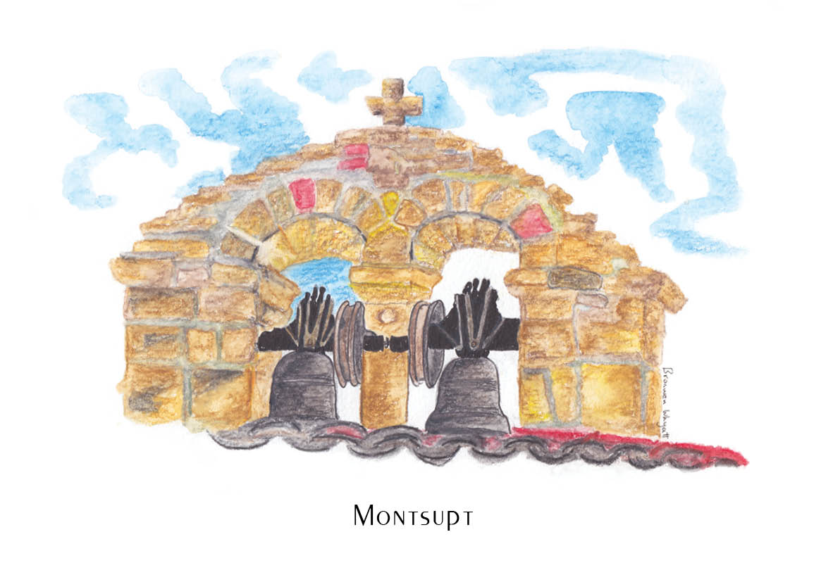 Watercolour sketch of stone bell tower with two black metal bells